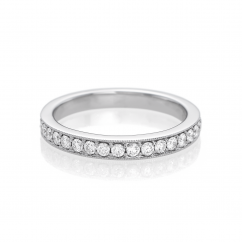 Hamilton Cherish 18k Gold and Diamond Milgrain Bead Set Wedding Band