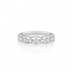Heritage 18k White Gold and .08ct Diamond Band