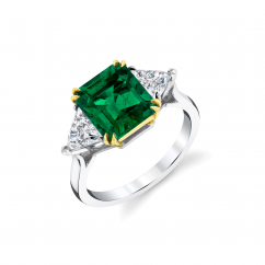 Private Reserve Platinum and 18k Gold Emerald and Diamond Ring