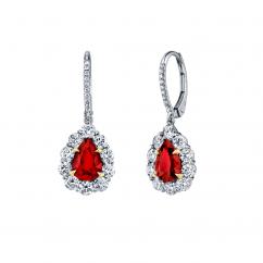 Platinum Pear Shape Ruby and Diamond Drop Earrings
