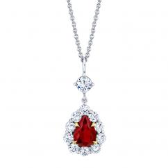Platinum Pear Shape Ruby and Diamond Pendant