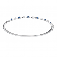 Wave 18k Diamond and Sapphire Bangle