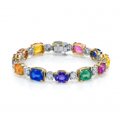 Private Reserve Platinum and Multi Color Sapphire Bracelet