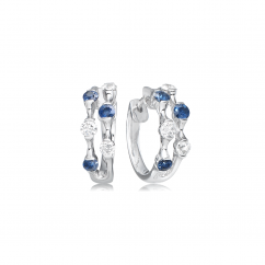 Wave 18k Diamonds and Sapphire Earrings
