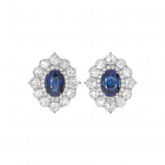 18k Gold and Oval Sapphire Earrings