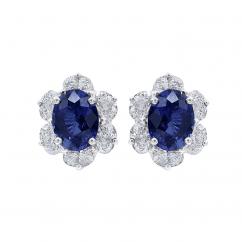 Oscar Heyman Platinum and Oval Sapphire Earrings