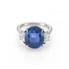 Platinum Oval Sapphire and Diamond Ring