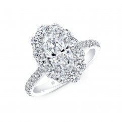 18k White Gold and .96CT Oval Diamond Halo Engagement Ring