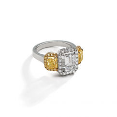 Private Reserve Lisette Platinum and 18k Gold Diamond and Fancy Yellow Ring