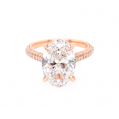 Private Reserve 18k Rose Gold and Oval Diamond 4.01CT Engagement Ring GIA