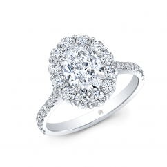 18k White Gold and .70CT Oval Diamond Halo Engagement Ring