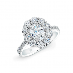18k White Gold and .50CT Oval Diamond Halo Engagement Ring