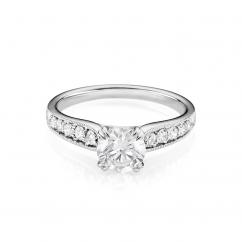 Hamilton Cherish Milgrain Bead Set 18k Gold and 1.50CT Round Diamond Ring