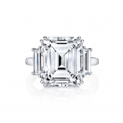 Private Reserve Platinum and 8.65T Emerald Cut Diamond Ring
