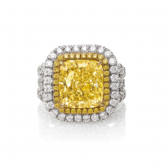 Private Reserve Platinum and 18k Gold Fancy Yellow Diamond Ring
