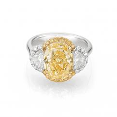 Private Reserve Lisette Fancy Yellow Diamond Three Stone Ring
