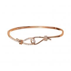 Love Knot 18k Rose Gold and Diamond Bangle Bracelet
