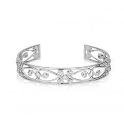Arabesque 18k White Gold and Diamond Cuff Bracelet
