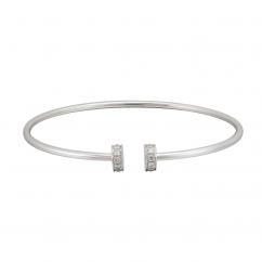 18k White Gold and Diamond Nail Head Cuff Bracelet