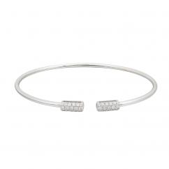 18k White Gold and Diamond End Cap Cuff Bracelet