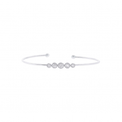 14k White Gold and 5 Diamond Halo Bracelet