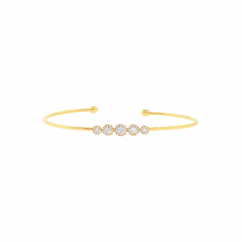 14k Yellow Gold and .37ct Diamond Cluster Bracelet