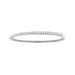 Classic 18k White Gold and 1.51 ct Diamond Bangle