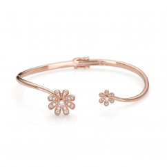Fleur 18k Rose Gold and Diamond Bangle Bracelet