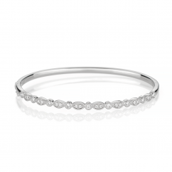 Heritage 18k White Gold and .52TW Bangle Bracelet