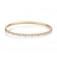 Heritage 18k Yellow Gold and .52TW Diamond Bangle Bracelet