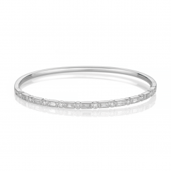 Heritage 18k White Gold Baguette and Round Diamond Bangle Bracelet