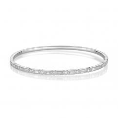 Heritage 18k White Gold Baguette and Round Diamond Bangle Bracelet