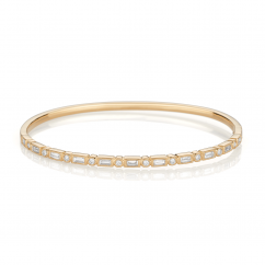 Heritage 18k Yellow Gold Baguette and Round Diamond Bangle Bracelet