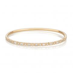 Heritage 18k Yellow Gold Baguette and Round Diamond Bangle Bracelet