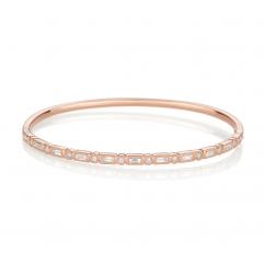 Heritage 18k Rose Gold Baguette and Round Diamond Bangle Bracelet