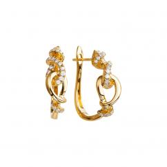 Love Knot Diamond and 18k Gold Hoop Earrings