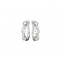 Classic 18k Gold and Graduated Diamond Hoop Earrings