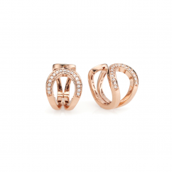 18k Rose Gold and Diamond Snap Hoop Earrings