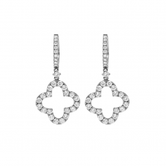 Classic 18k White Gold and Diamond Clover Earrings