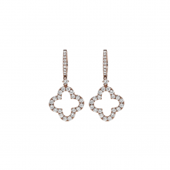 Classic 18k Rose Gold and Diamond Clover Earrings