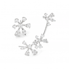 14k Gold and Diamond Flower Ear Climber and Stud