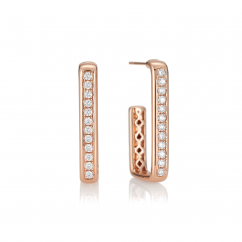 Mercer 18k Rose Gold and Diamond Hoops