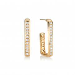Mercer 18k Yellow Gold and Diamond Hoops