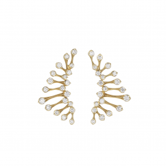 Wave 18k Yellow Gold and Diamond Curved Earrings