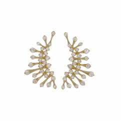 Wave 18k Yellow Gold Curved Diamond Earrings