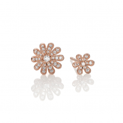 Fleur 18k Rose Gold and Diamond Stud Earrings