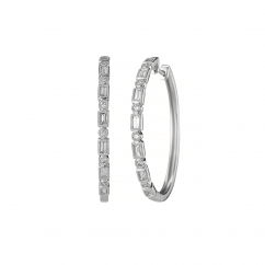 Heritage 18k White Gold and Diamond Baguette Hoop Earrings