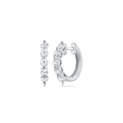 14k White Gold and .70TW Diamond Hoop Earrings