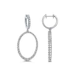 Classic 18k White Gold and Diamond Oval Drop Earings