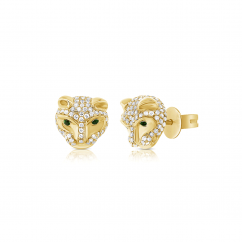 14k Yellow Gold and Diamond Tiger Head Earrings